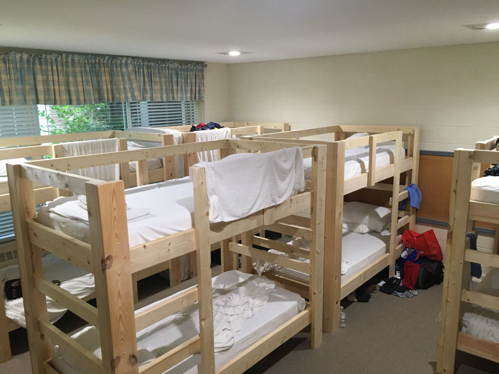 One of two volunteer bunk rooms at First Presbyterian Church of Kinston